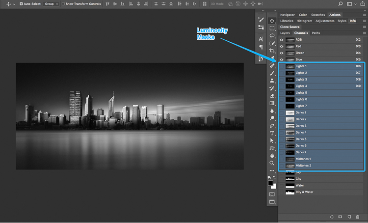 15 How to split tone black and white images using luminosity masks