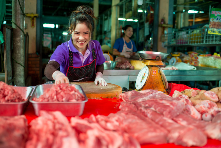 Female butcher are a Chiang Mai market - Slow Down and Take Your Time – Don't Rush Your Photography