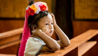 Portrait of a young Kayan girl