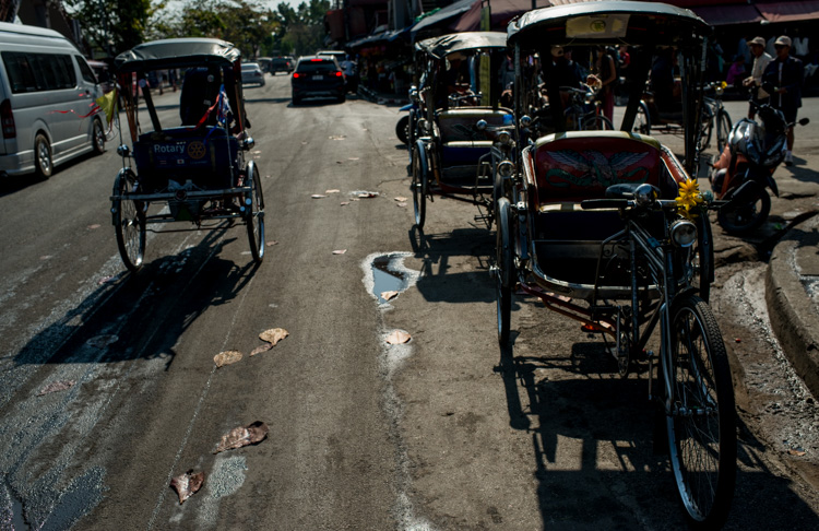 Street scene in Thailand with tricycle taxis and traffic - Tips for Learning How to See the Light and Take Better Photos