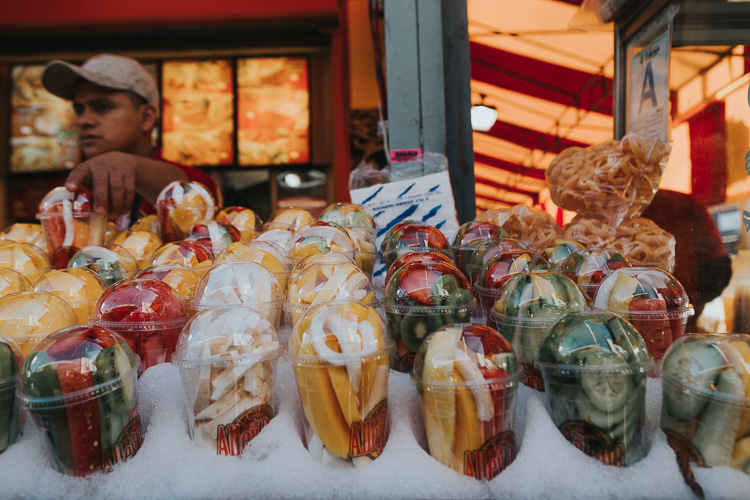 Tips for photographing street markets - fruit in cups for sale
