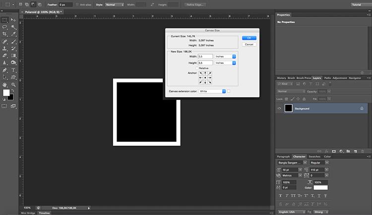 Polaroid effect tutorial canvas size white frame