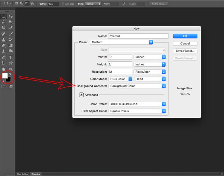 Polaroid effect tutorial size document