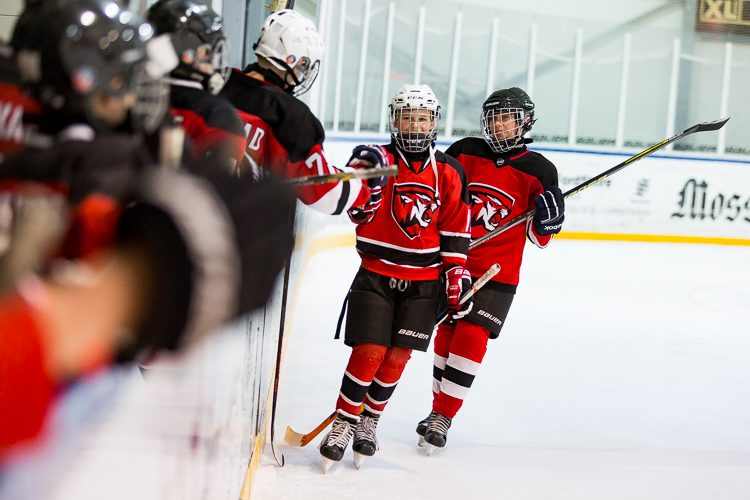 The edited image of hockey players celebrating after a goal - Tips for Editing Hockey Photos in Lightroom