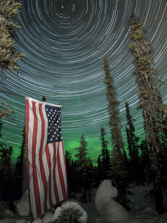 Star Trails, Alaska, with american flag - 7 Tips for Shooting and Processing Star Trails