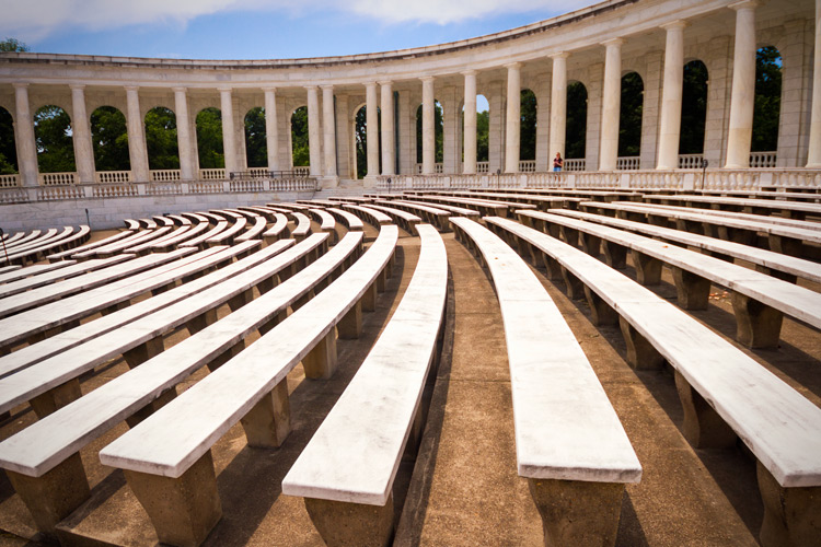 shot of leading lines of a theatre seating area -  travel photography hacks