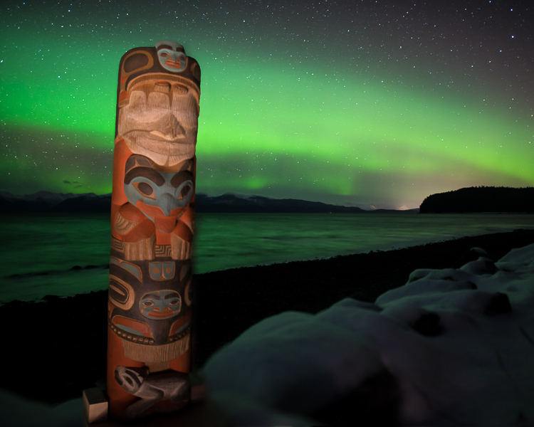 Image: I bounced the light off the snow to light this shot because direct light caused the totem to...