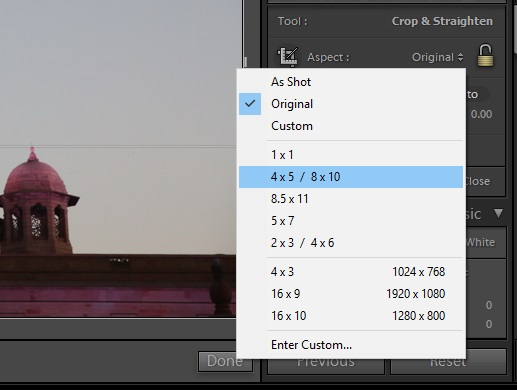 crop sizes and ratios in Lightroom