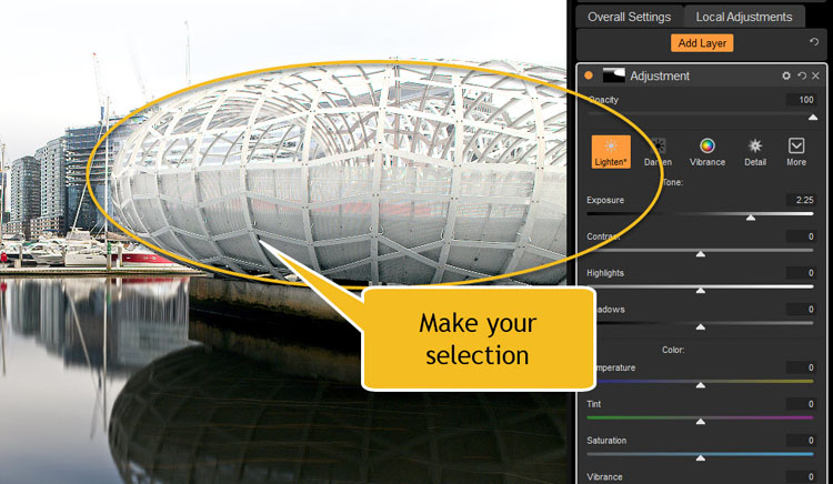 Image: In Local Adjustments, you can make the selection of the part of the image you want to work on...