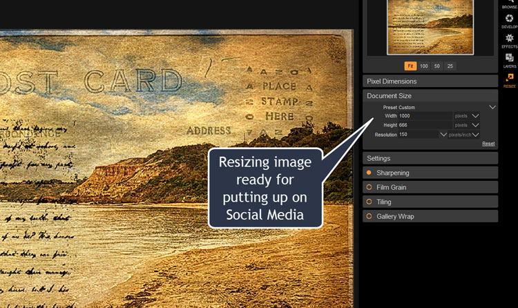 Image: Resize is where you can get your image ready for social media or printing.
