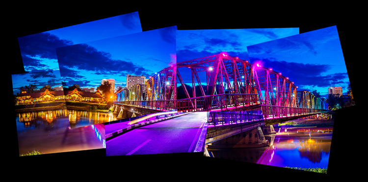 Photo montage of the Iron Bridge in Chiang Mai at night made in a similar style to Daivd Hocknet joiner photos.