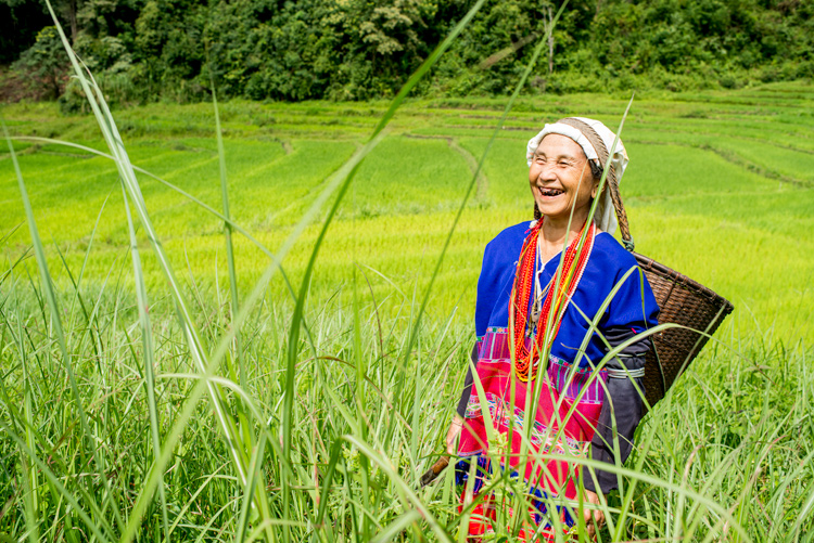 :aughing Karen woman in a rice field - improve your photography