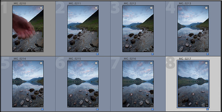 thumbnails of pano shots in Lightroom - Create Better Panoramas