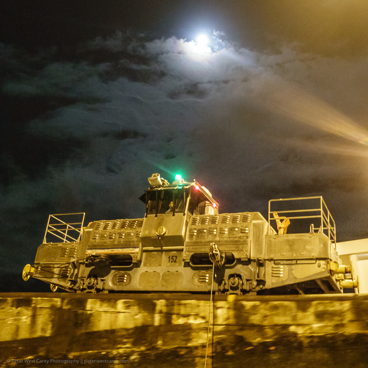 Image: Panama canal locomotive and the moon – Panama ISO 6400, f/4, 1/13th.