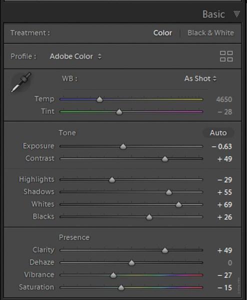 Understanding Creative Profiles in Lightroom Classic CC - sliders in LR