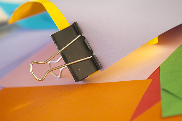 Creating Abstract Photos with Colored Paper - bulldog paper clip