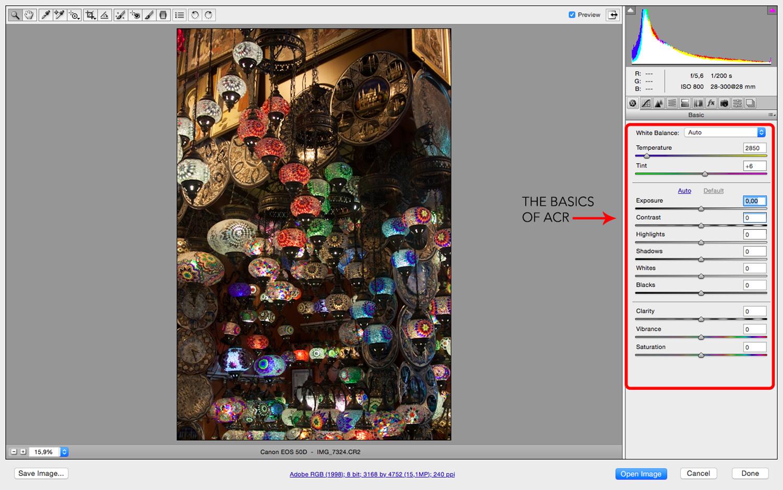 ACR Raw Post-processing Photoshop Basic Adjustments