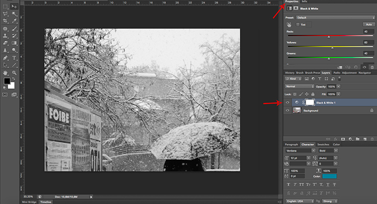 Adjustments Layer BlackandWhite Tonal Effects Photoshop Tutorial