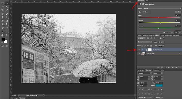 Adjustments Layer BlackandWhite Tonal Effects Photoshop Tutorial