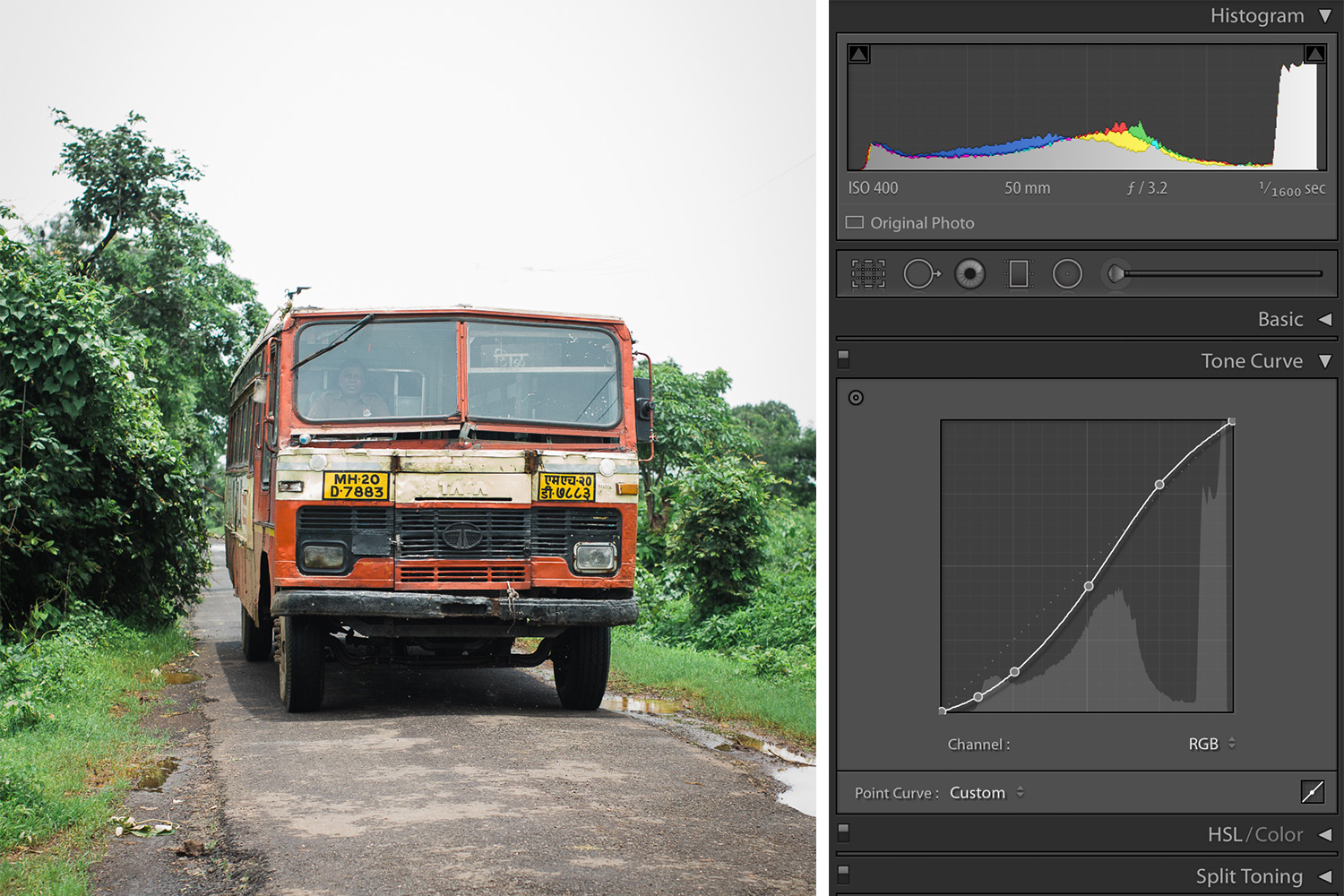 Color Adjustments in Lightroom Public Transportation in Rural India Photo