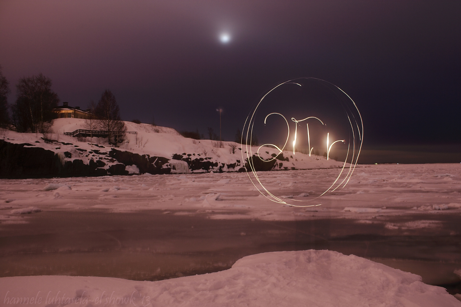 Light painting an equation: the circumference of a circle