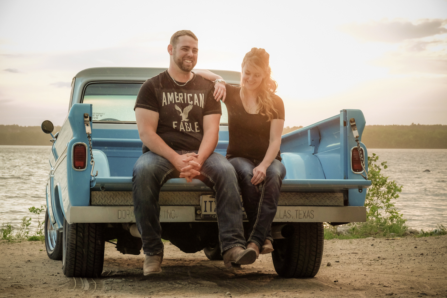 couple on the back of a truck - Wedding Photography Tip - 3 Ways to Tame a Bridezilla
