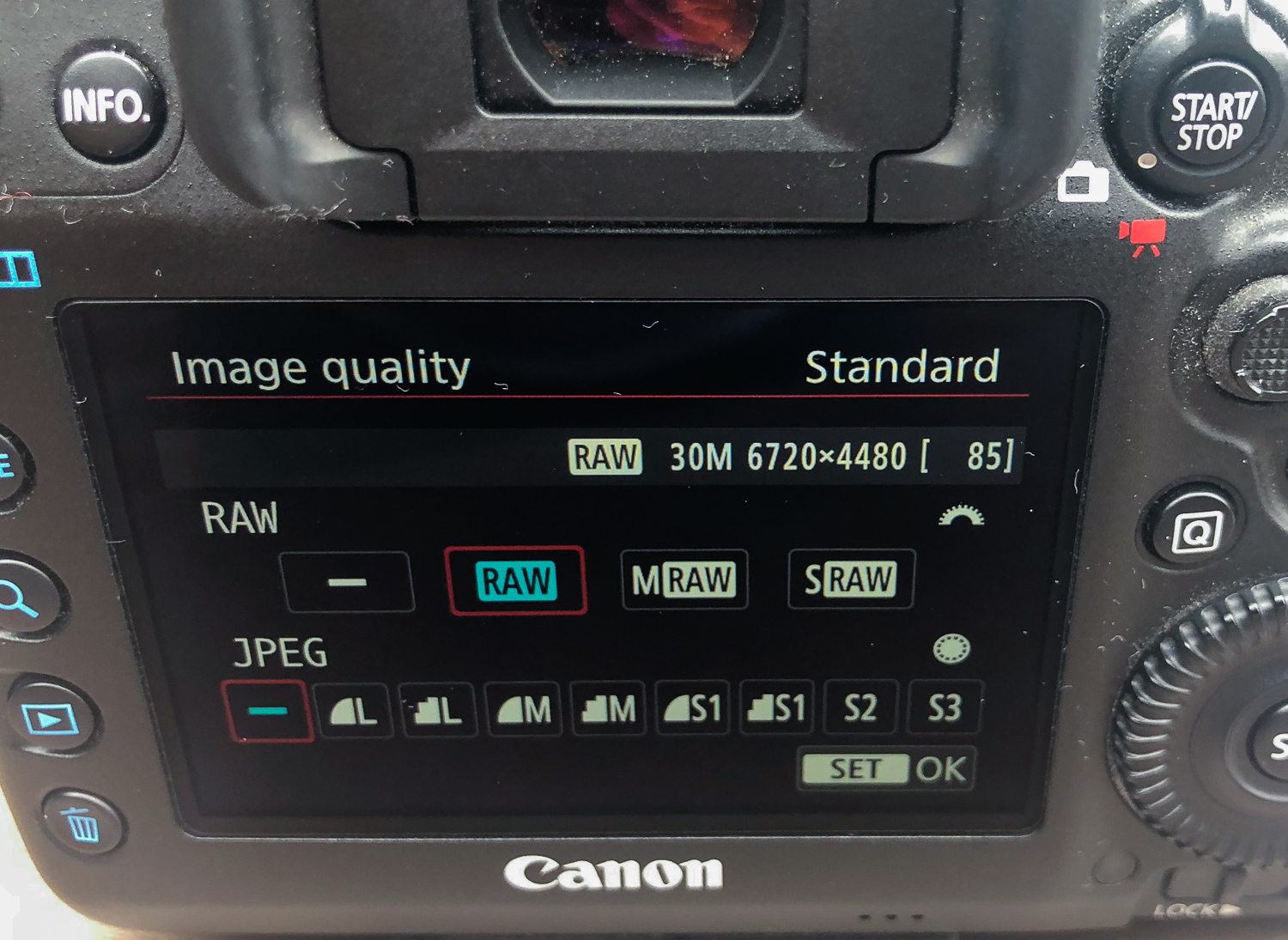 raw setting on a DSLR menu -  Travel Photography Mistakes