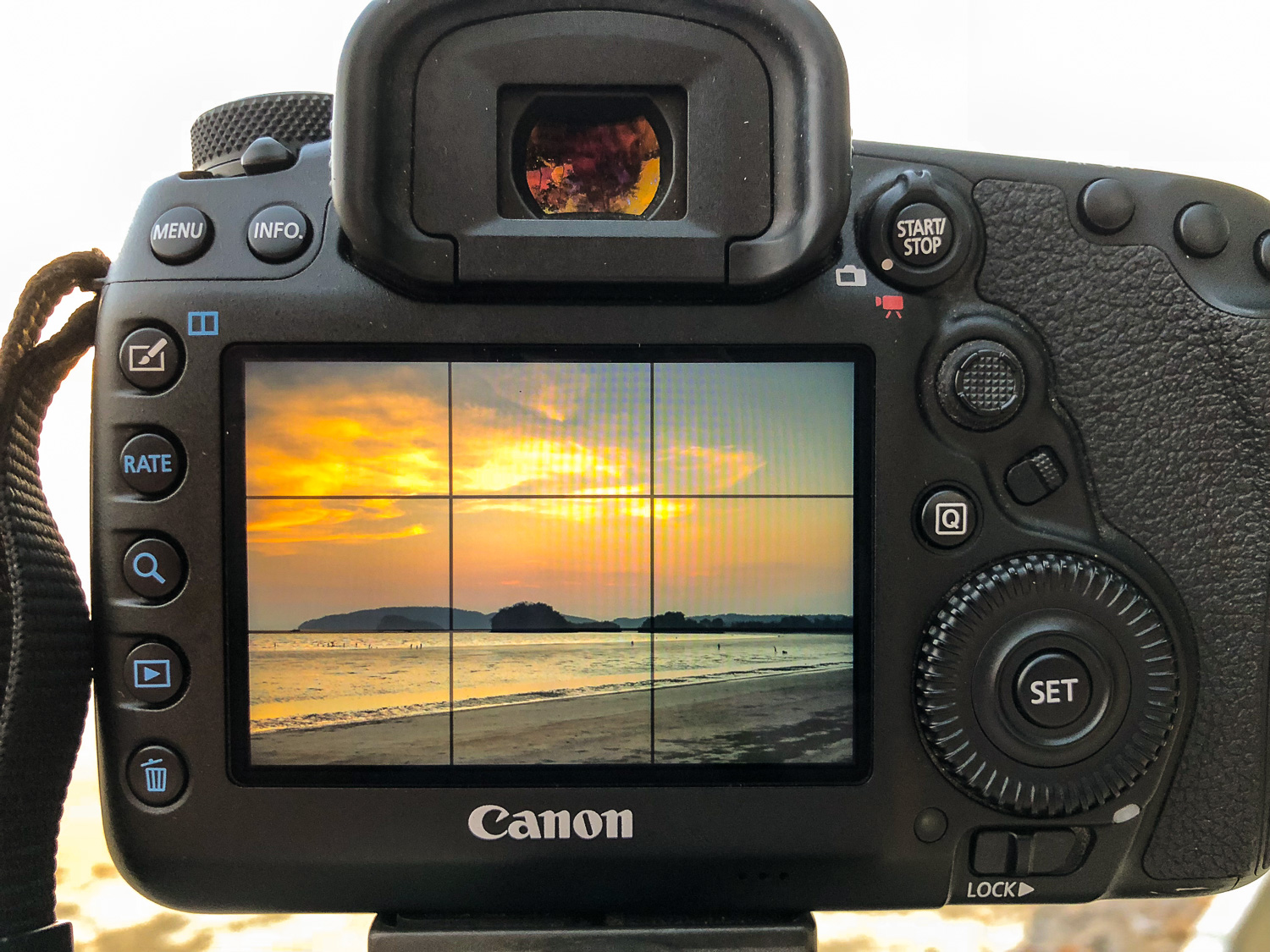 grid view on a DSLR screen -  Travel Photography Mistakes
