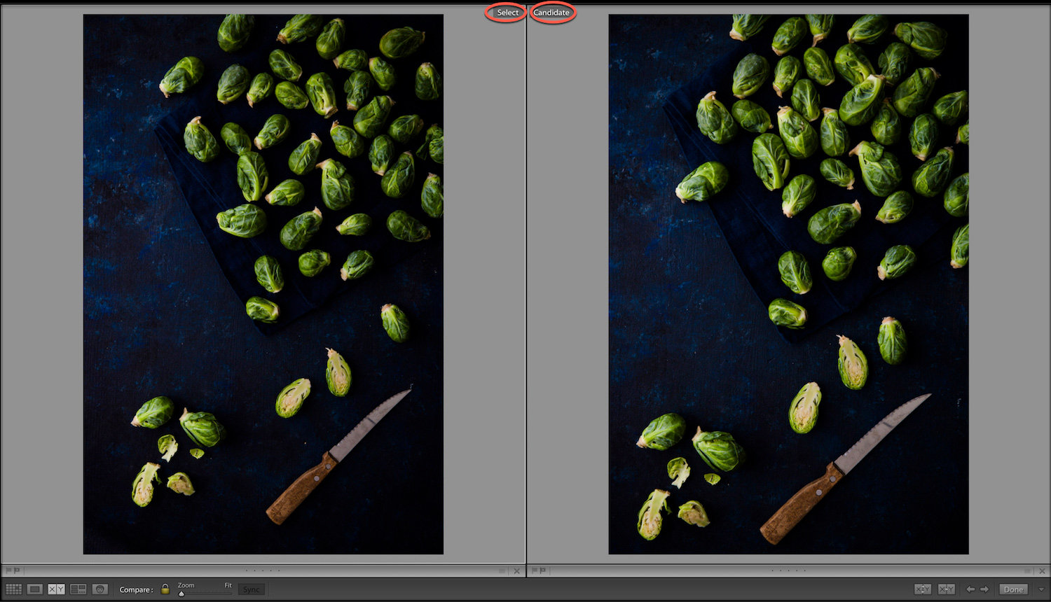 Select Candidate Compare View In Lightroom Classic