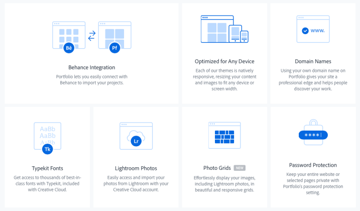 Adobe Portfolio options