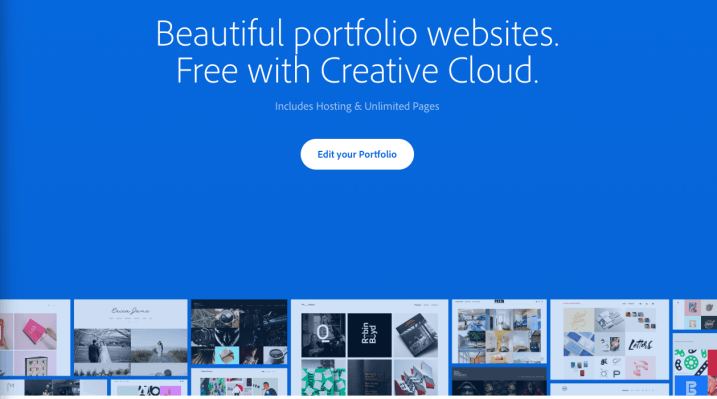 Adobe Portfolio website landing page