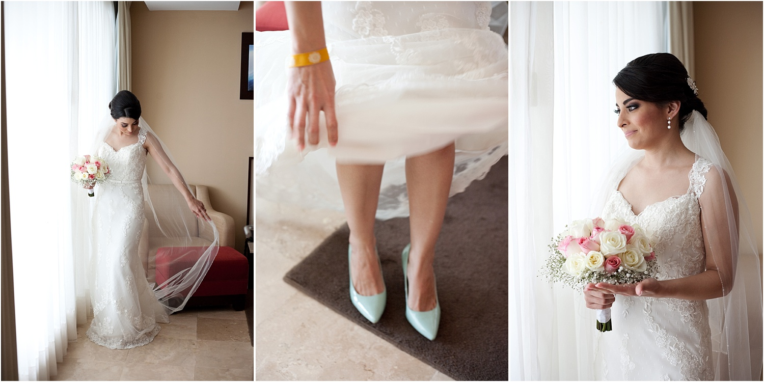 bride by a window, her shoes and bouquet - Tips for Better Bridal Portraits