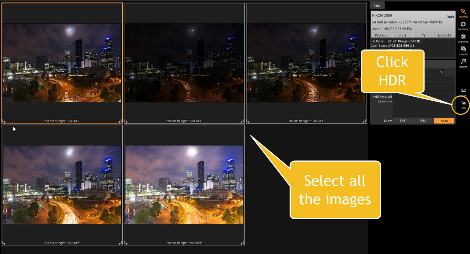 select images and HDR button - Tips for Processing Night Photography with ON1 Photo RAW 2018