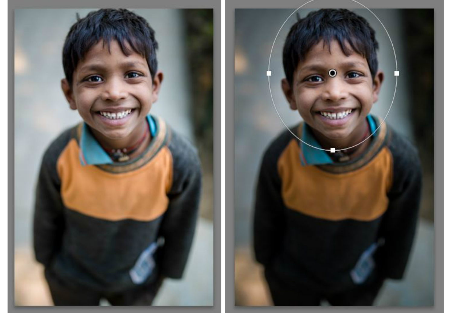 Lightroom local adjustments - radial filter image of an Indian boy