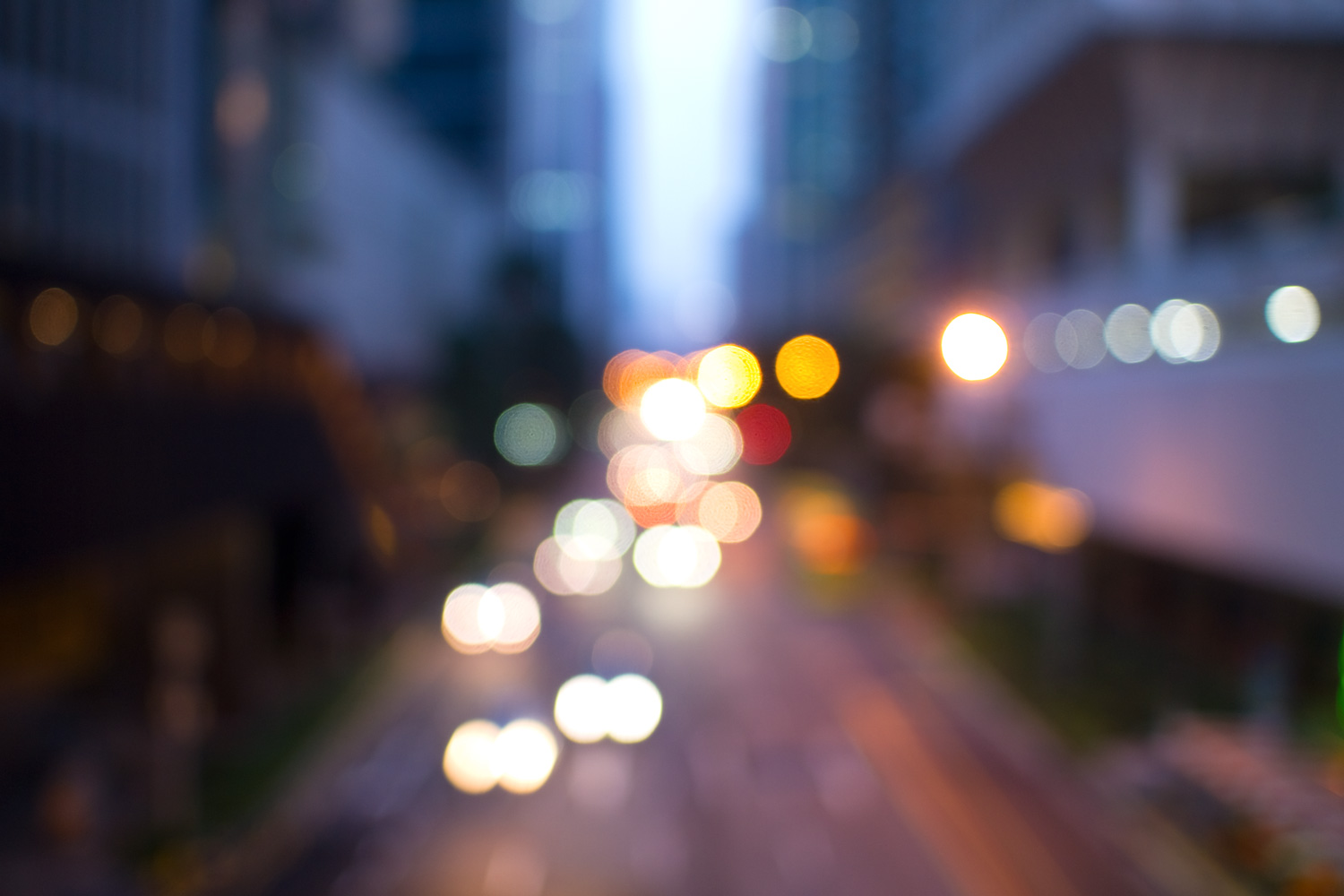 Singapore - Out of Focus Cityscape Bokeh Images at Blue Hour