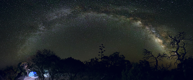 Image: Campsite panorama of the night sky.