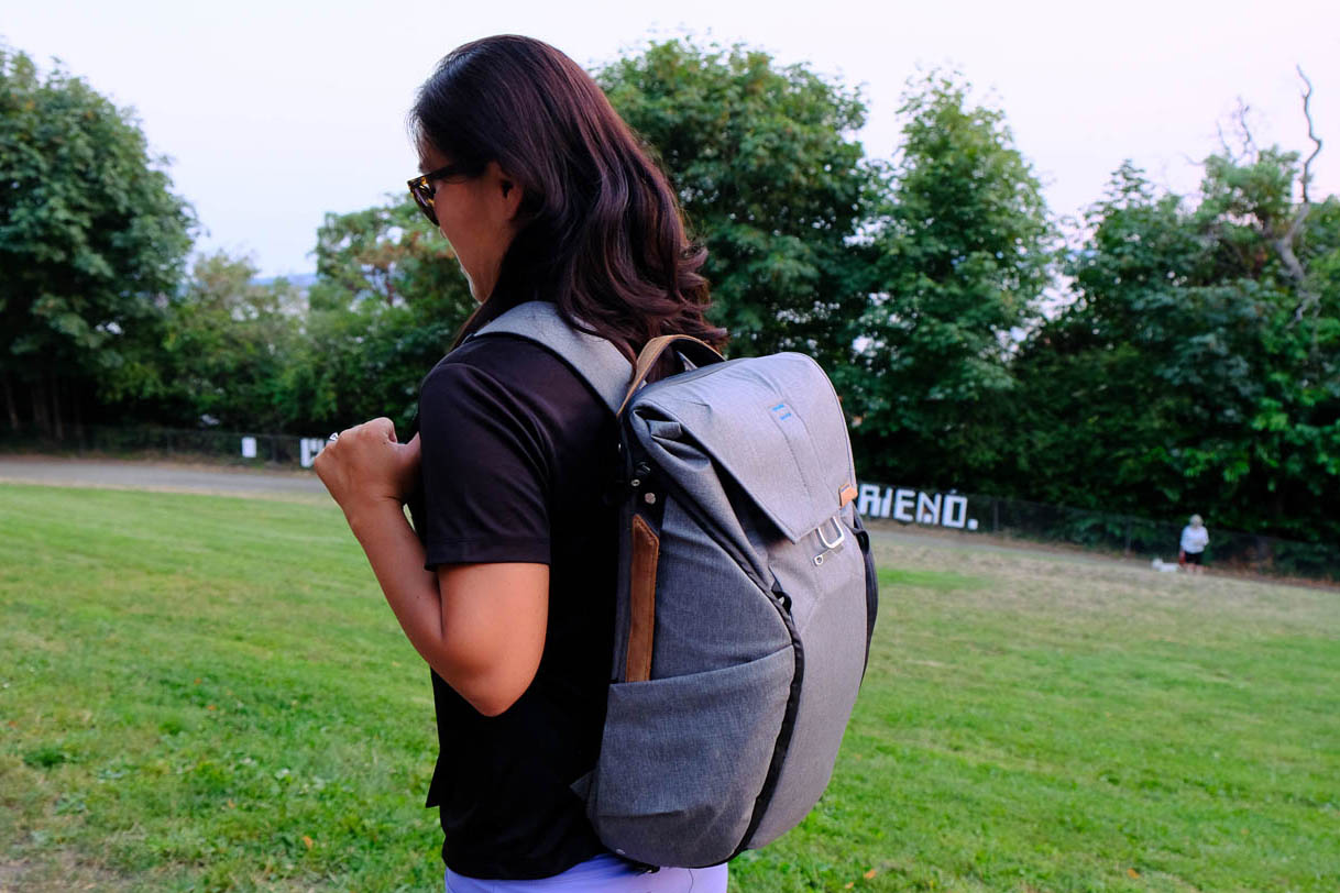 Peak Design Everyday Backpack Camera Laptop Bag - woman with backpack on