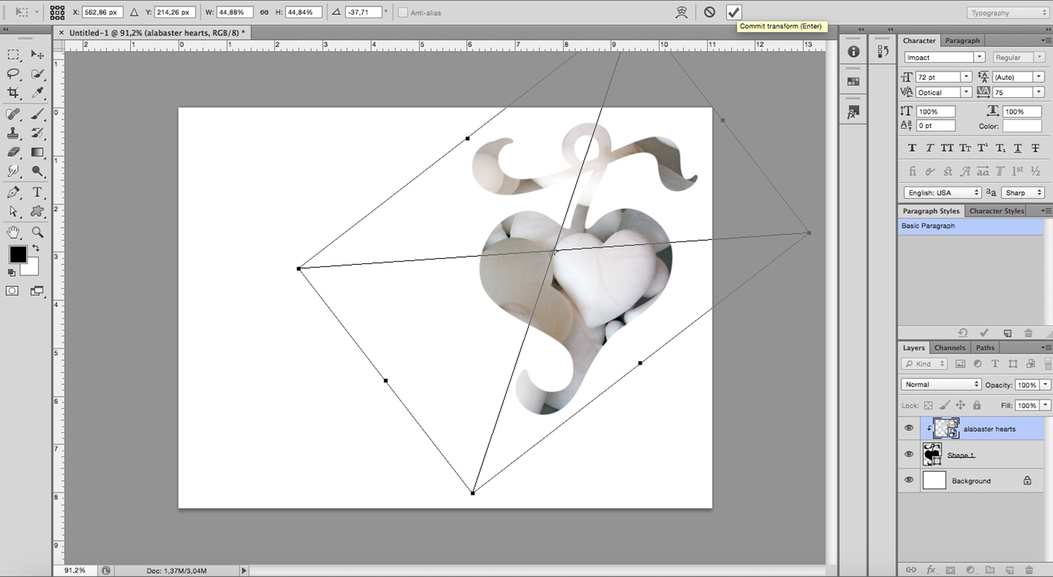 image-filled shapes Photoshop tutorial Free Transform