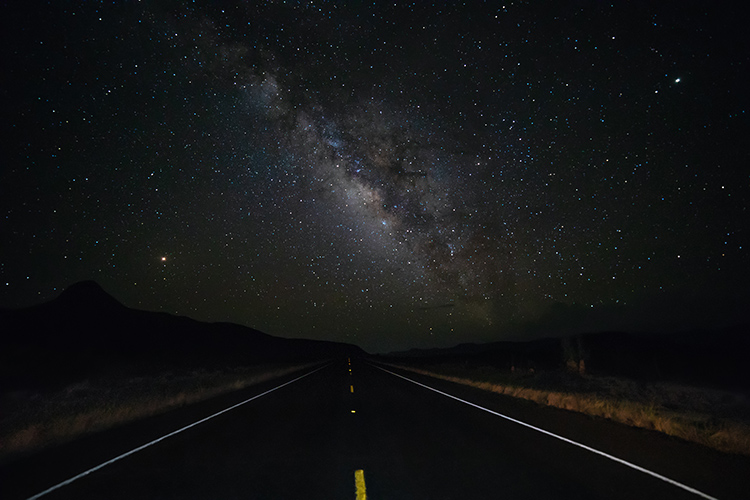 Night sky photography - Milky Way on a road