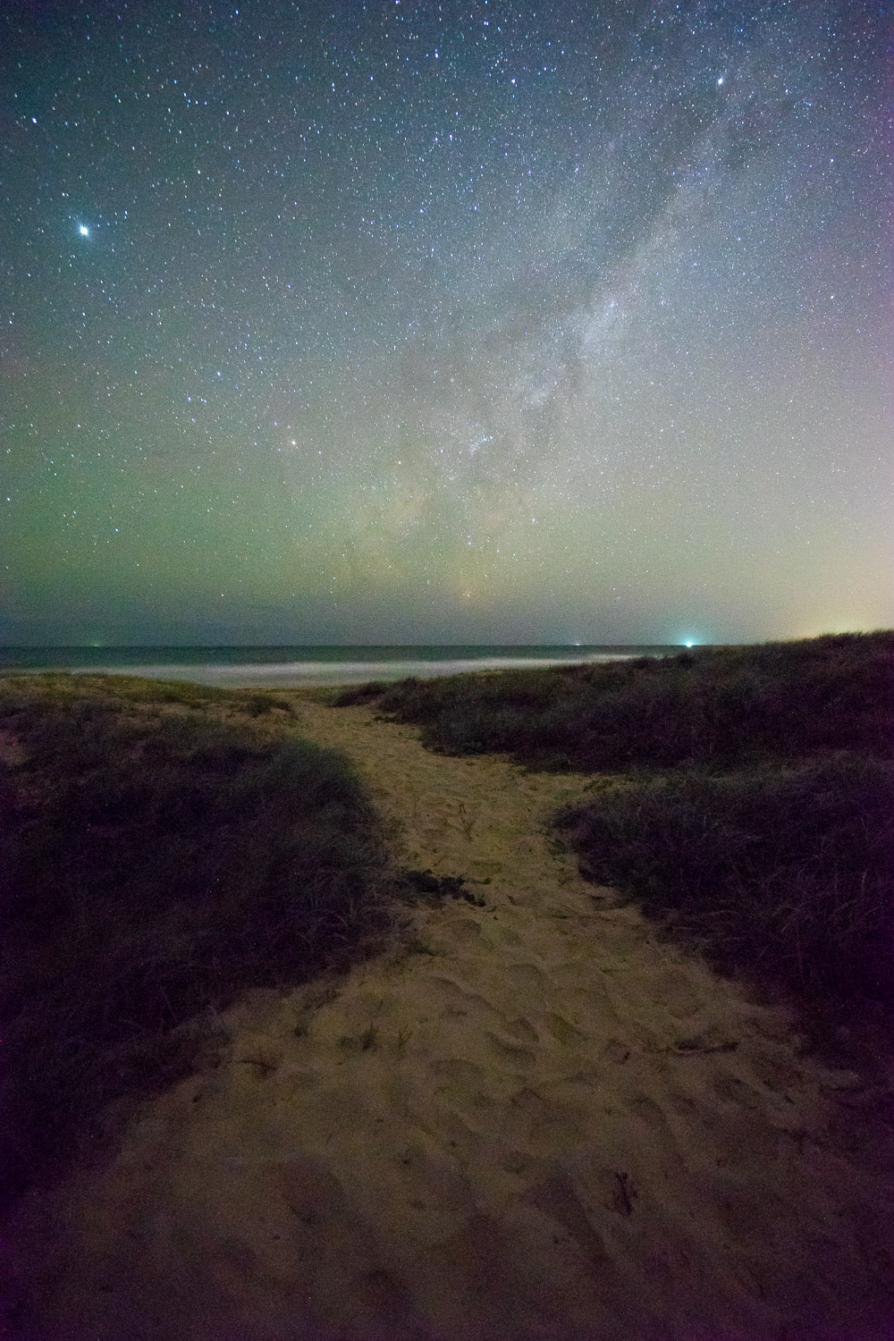 beach astrophotography light painting