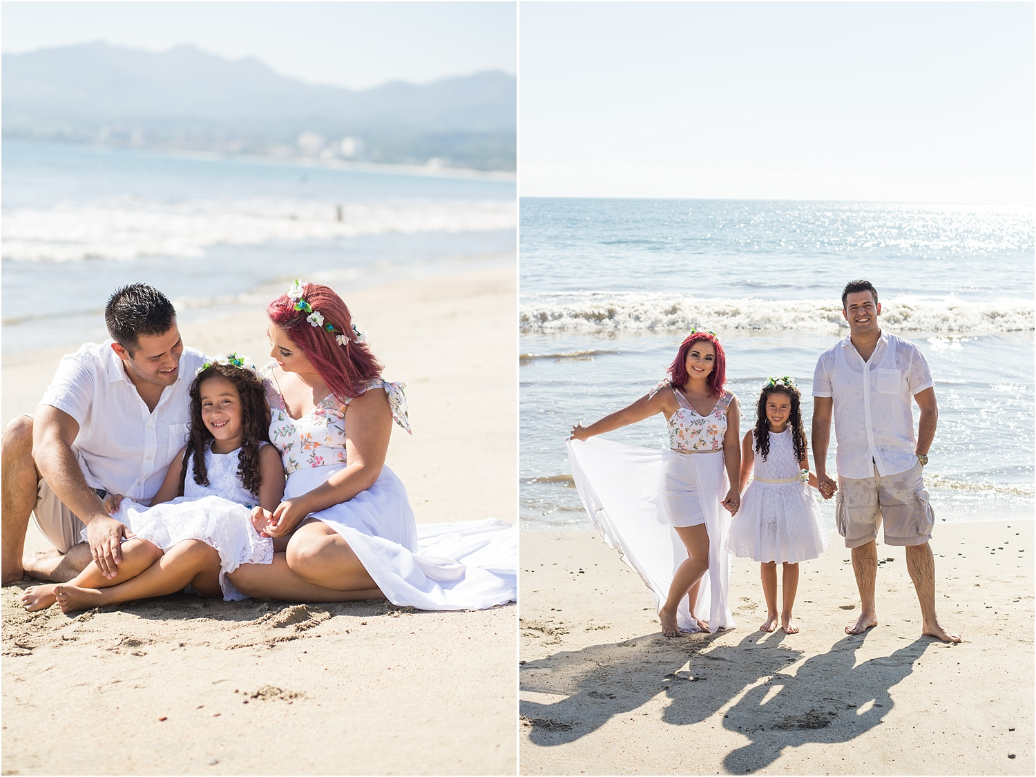 How to make the portrait photograph in Bright Midday Sun - family on the beach
