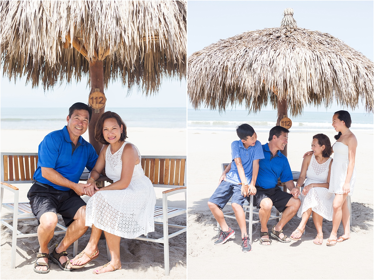 family on the beach under a palm umbrella - How to do Portrait Photography in Bright Midday Sun