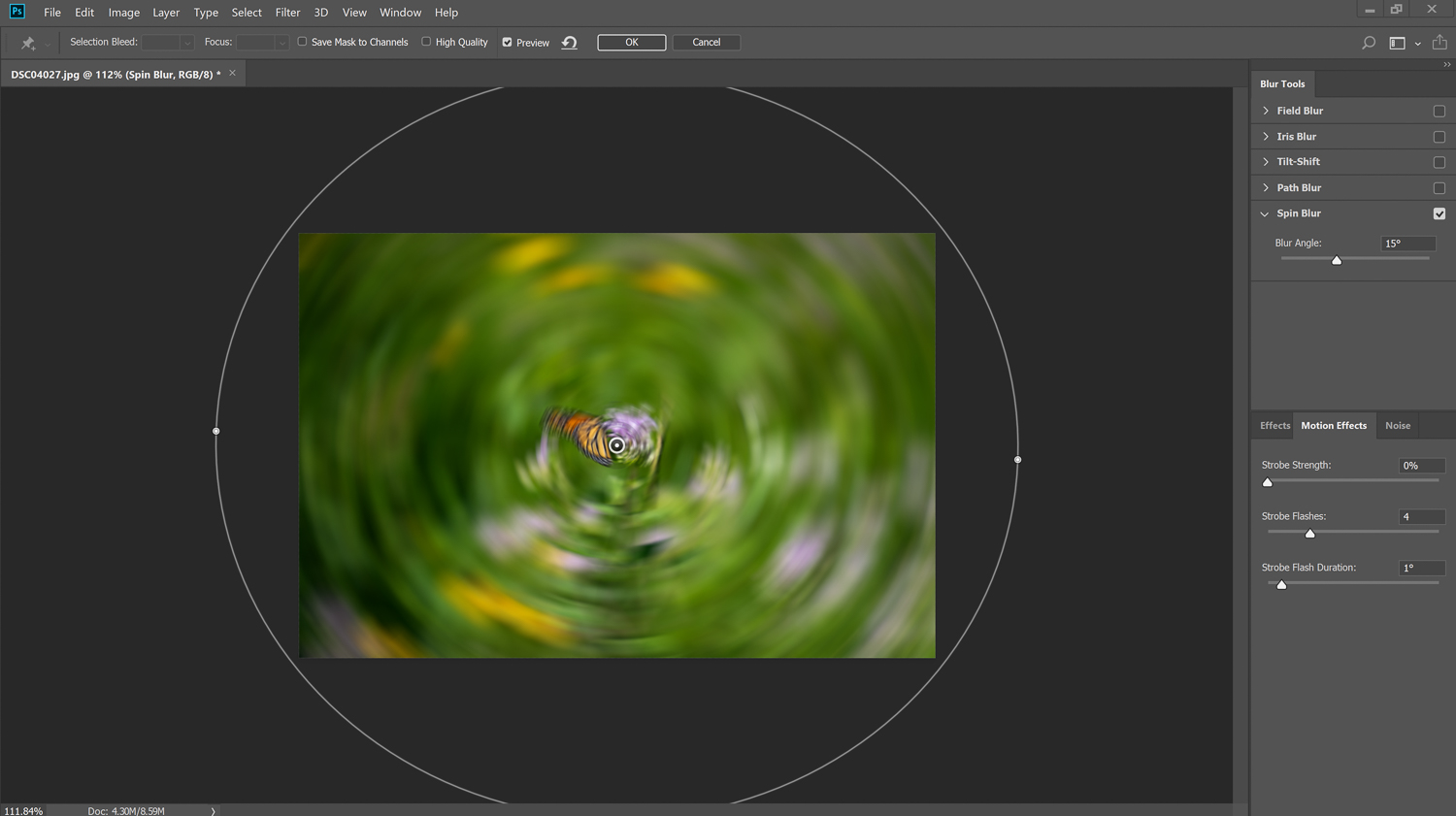 spin blur filter in action - How to Simulate a Swirly Bokeh in Photoshop