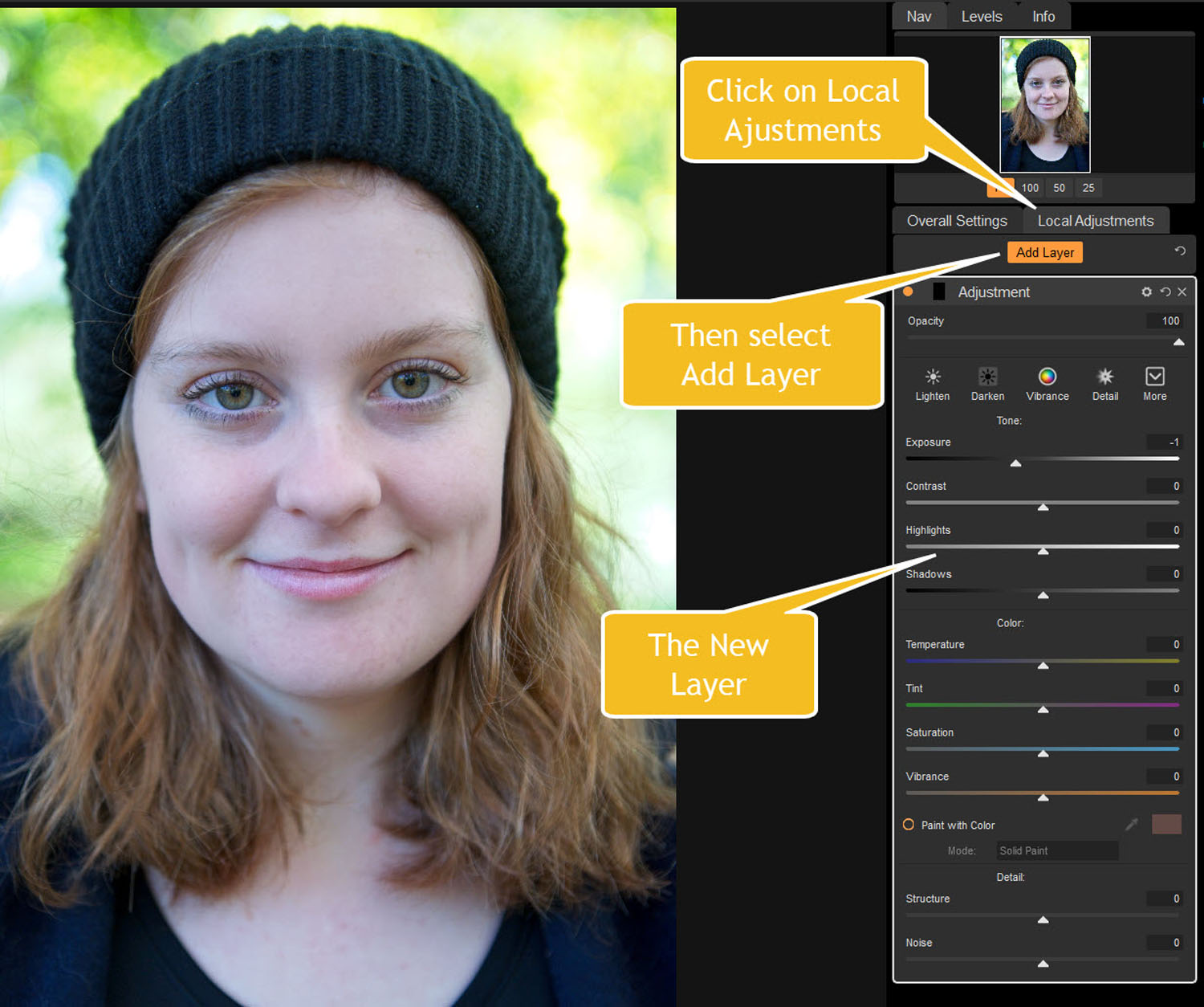 Tips for Portrait Processing with ON1 Photo RAW 2018 - new layer