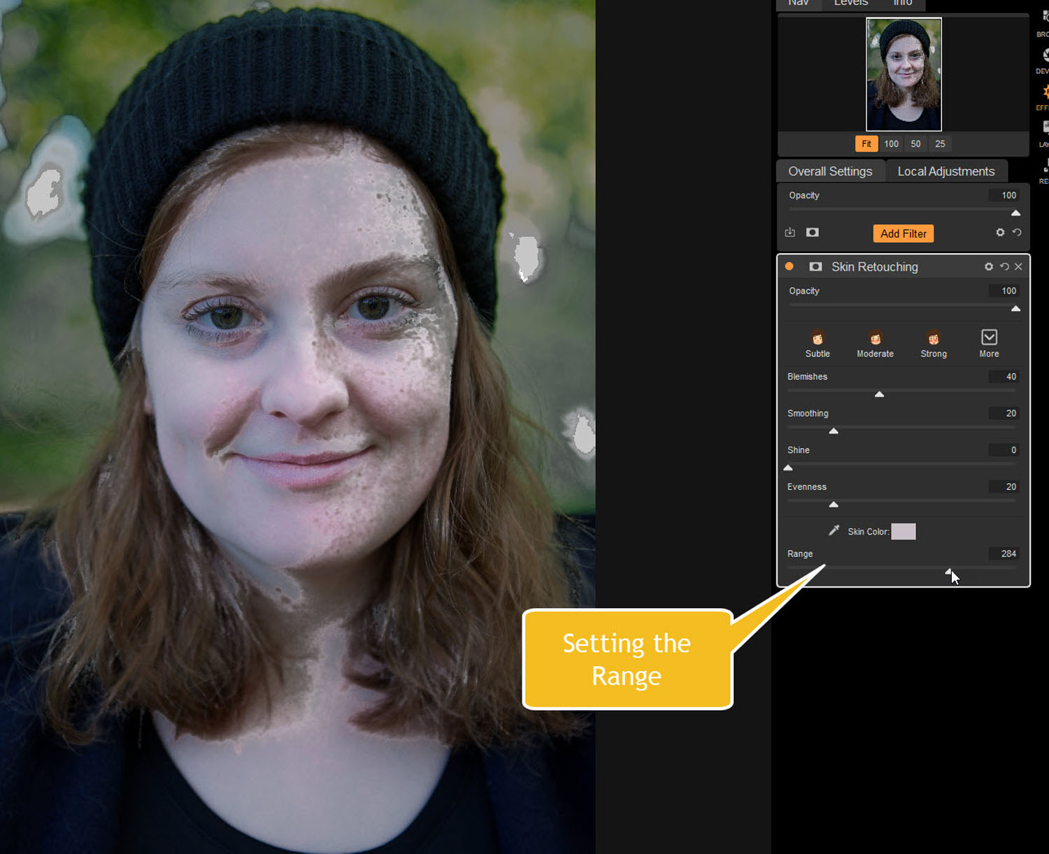 Tips for Portrait Processing with ON1 Photo RAW 2018 - range of skin retouching