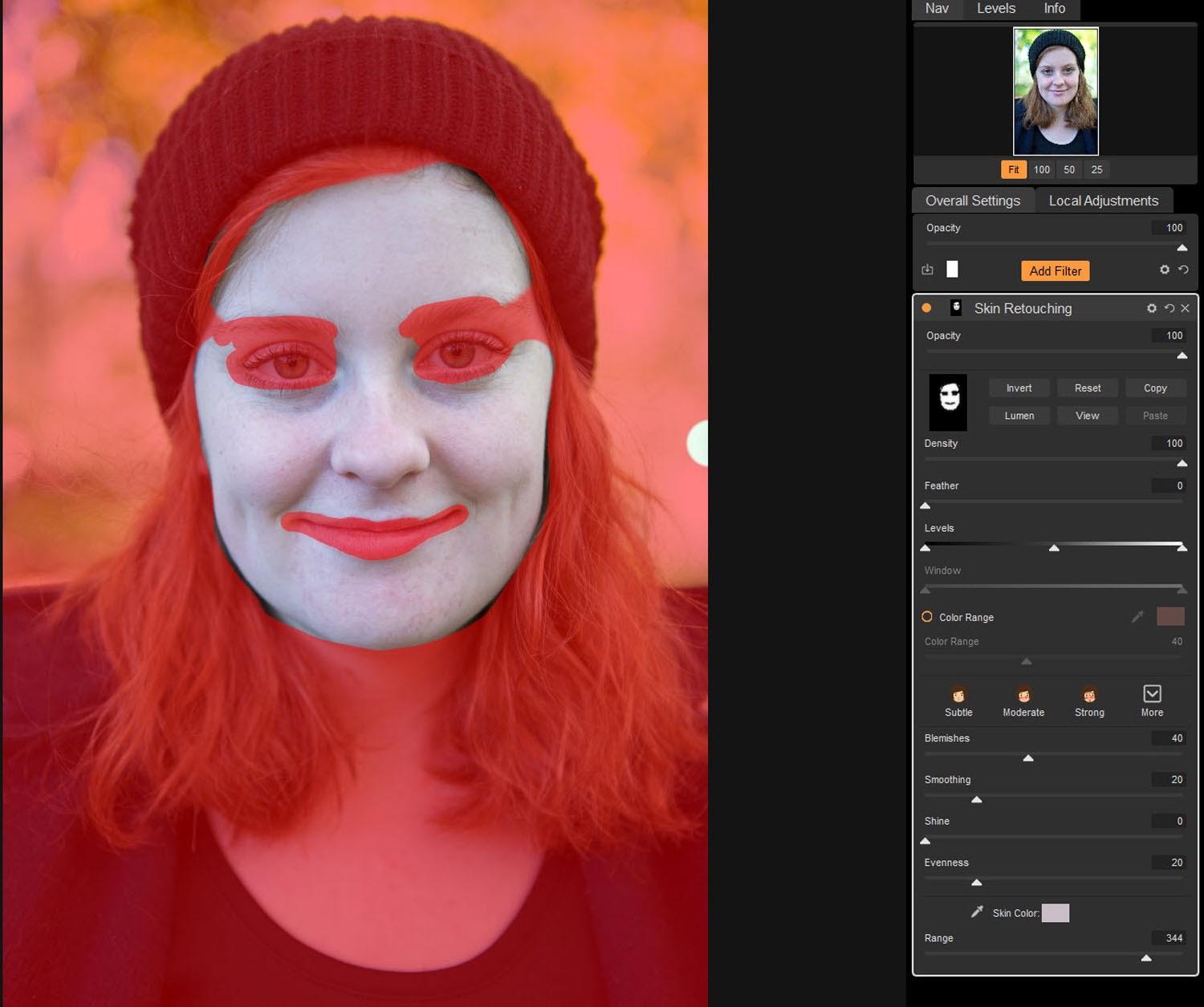 Tips for Portrait Processing with ON1 Photo RAW 2018 - red overlay mask