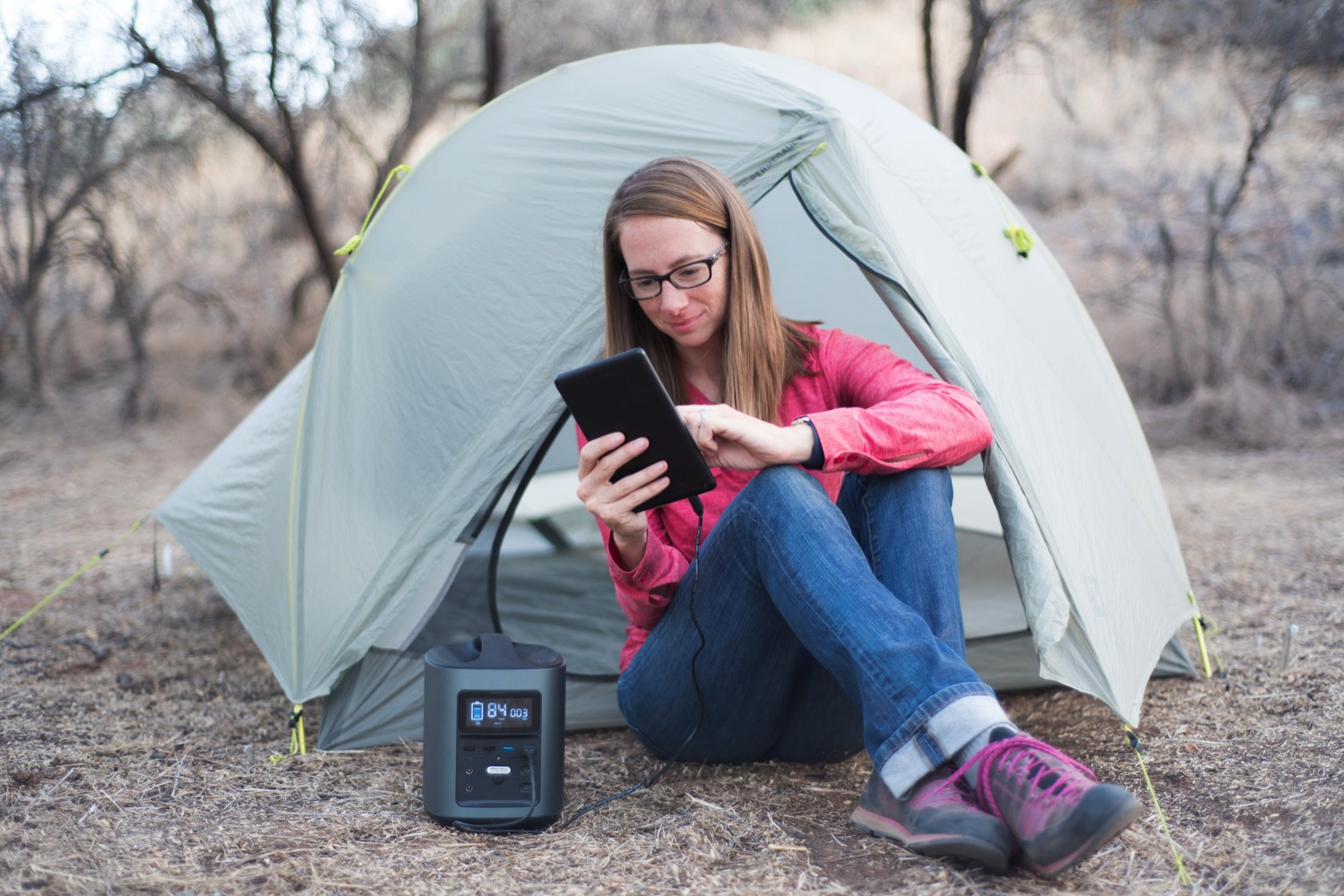 Batteries and Backups: How to Shoot Off the Grid - battery in use at campsite