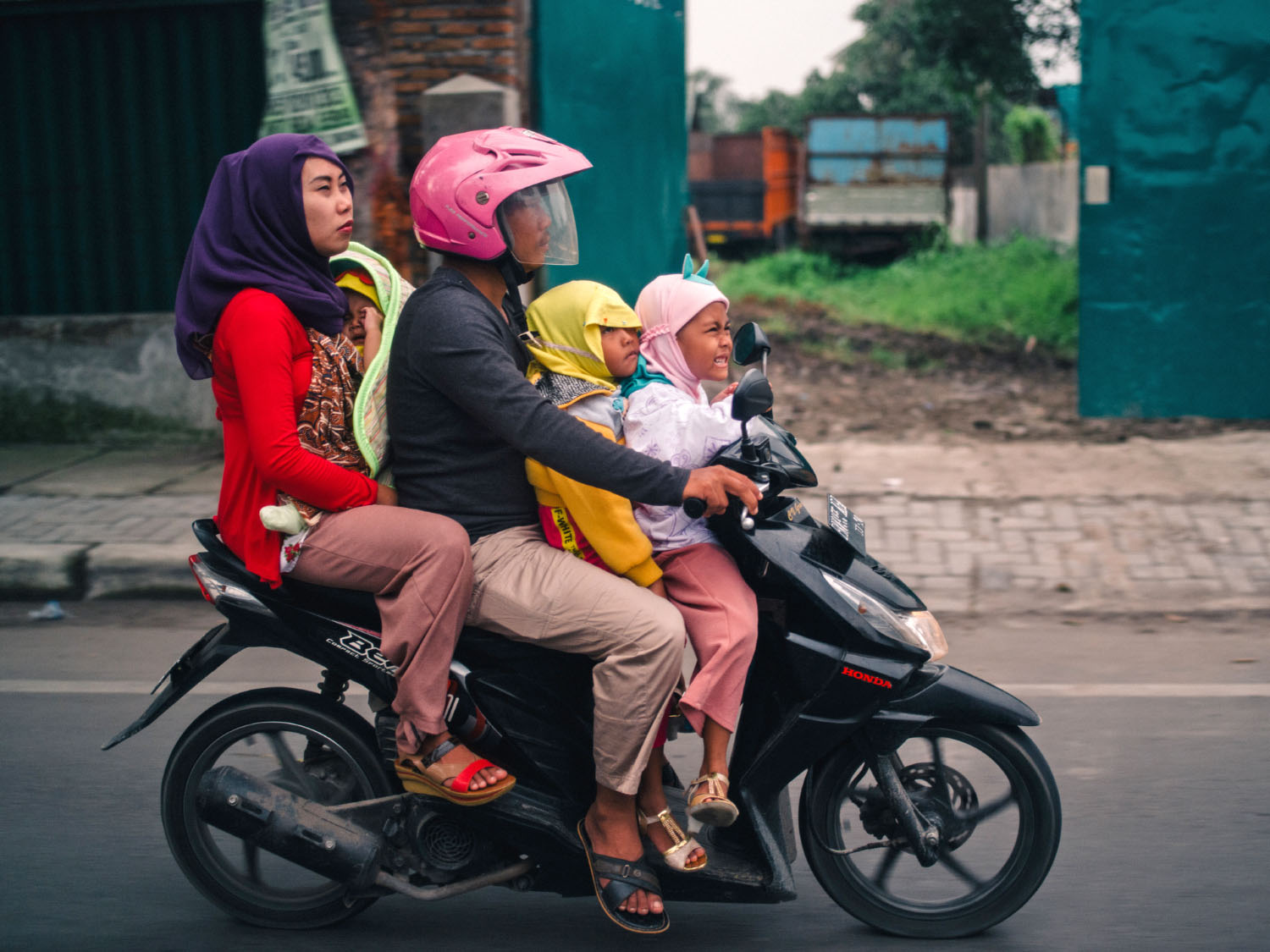 family on a motorcycle