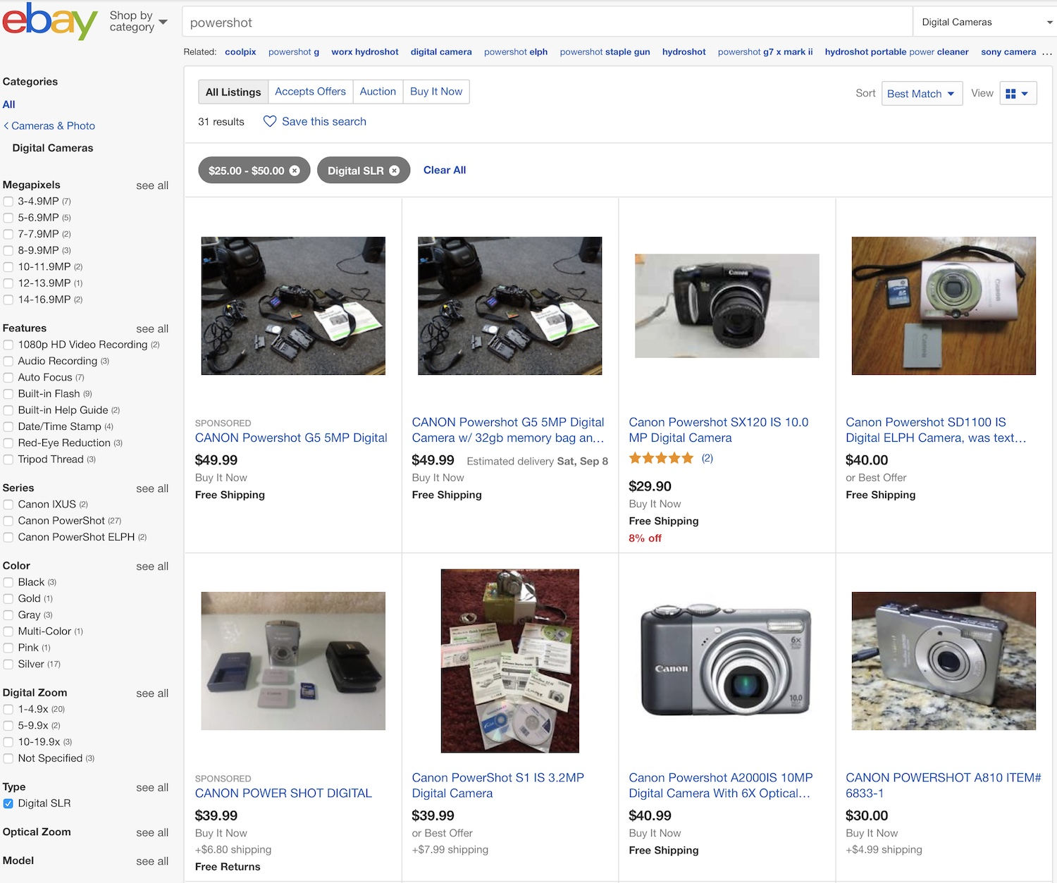Image: A quick eBay search for Canon PowerShot digital cameras between $25 and $50 turns up dozens o...