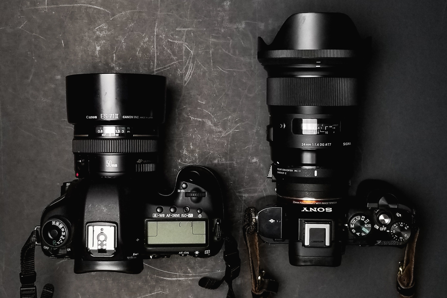 Image: A Canon 5D MK3 with a Canon 50mm F/1.8 lens (left) and a Sony A7R with an EF 24mm f/1.4 Sigma...
